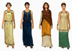 peasant dress in ancient roman times Ancient Roman Clothing, Greek Clothing, Historical Clothing, Ancient Greece Clothing, Women's Clothing, Rome Fashion, Fashion Line, Fashion History, Empire Fashion