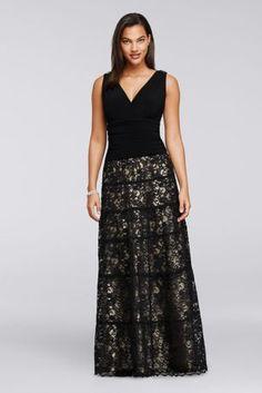 Ruched V-Neckline Long Lace Dress 3009DB