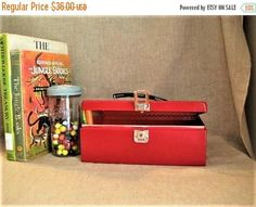End Of Year Sale Metal Cash Box in Red Upcycled BRIGHT Red