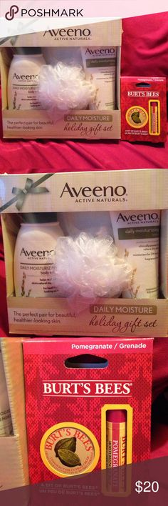 Skin care bundle Aveeno daily moisture holiday gift set (aveeno daily moisturizing lotion 8 oz, Aveeno daily moisturizing body wash 12 fl oz, and a shower pouf)                                                                           Burts bees pomegranate moisturizing lip balm and Lemon butter cuticle cream.                             *****all new never opened or used****** Aveeno and Burts Bees Other