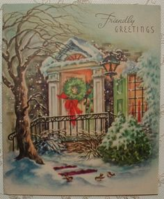 Open-Front-Door-Christmas-Tree-1940s-Vintage-Christmas-Greeting-Card