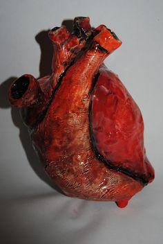 anatomical human heart ceramic coin bank by carolyn wass