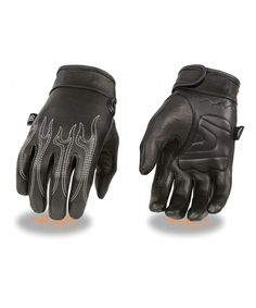760cddbf3 Men's Premium Leather Cruiser Gloves with Flame Embroidery and Gel Palm  (Black- X-Small) - CB11JWQB0SB