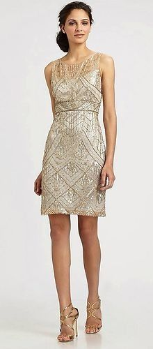 Sue Wong 1920's Gatsby Champagne Silver Beaded Sequin Evening Bridal Dress 12   eBay