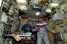 Gennady Padalka and Sergei Revin in the Russian segment straight after the docking. Gennady's third stay on the ISS.   Credit: ESA/NASA