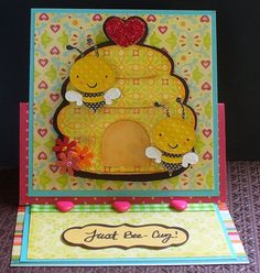 This card is a 3D easel card I made for a friend.  The bees wiggle when you move the card.
