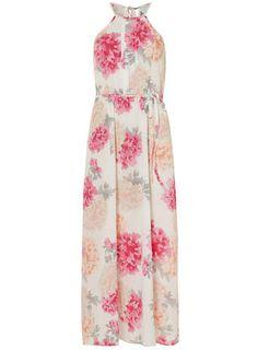 Petite floral halter maxi dress