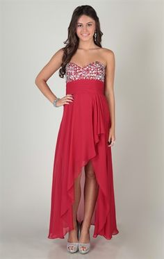 Deb Shops strapless dress with beaded stone bodice and cascade high low skirt  $99.90