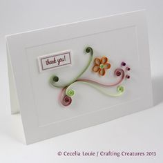 quilling, flower, thank you, card