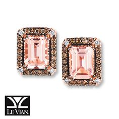 Le Vian® Peach Morganite™ Earrings 1/3 ct tw Diamonds 14K Strawberry Gold®