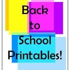 Back to School Printables and ActivitiesPrice: 19 pages X .10 = $1.90Cover SheetBack to School True or False TestA Scavenger Hunt! Bookmarks...