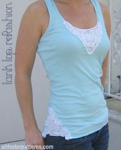 Lace Applique Tank Refashion.  I'm not crazy about the lace at the hip, but at the neckline is cute and easy to do!  #applique #crafty