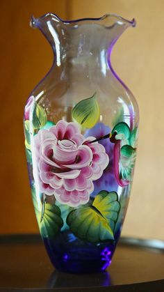 One Stroke style hand painted glass vase with roses, hummingbirds, leaves. $24.95, via Etsy.