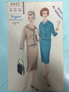 Vintage 1960's Vogue Dress Sewing Pattern 9942 Sz 16 Bust 36