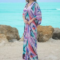 """[HP]RATED LUXURIOUS & FIGURE-FLATTERING CAFTAN Caftans are now more POPULAR THAN EVER. Adjusts to different shapes and sizes. Figure flattering. Luxurious fabric that's roomy and breathable. Perfect for: Dinner. Cozy evening at home. Night on the town. Beach. Parties or Shopping. OSFM. LENGTH: 52"""" 100% Polyester. Wear all day all year around.  Bundle 2 for $85. (2) HP Intimates & Sleepwear Robes"""