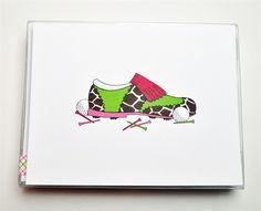 Wild Print Golf Shoe Note Cards | #golf4her #stockingstuffer #notecards