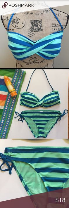 Mossimo Bikini Really cute 2 piece, excellent condition, top is large bottom is medium, removable neck strap, color is vibrant, like new.                                              ***top-large     ***bottom-medium Mossimo Swim Bikinis