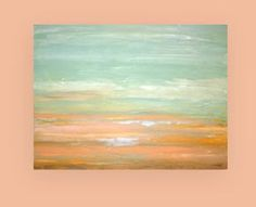 "Shabby Chic Beach Abstract Acrylic Art Canvas Painting Titled: Flight of the Seagulls 30x40x1.5"" by Ora Birenbaum"