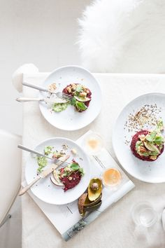 savory beetroot pancakes with a creamy avocado dressing