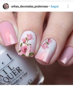 Easy DIY Valentines Nail Designs for Short Nails – Seze Pink Nail Art, Cute Acrylic Nails, Pink Nails, My Nails, Floral Nail Art, Short Nail Designs, Nail Art Designs, Flower Nail Designs, Fancy Nails