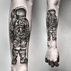 astronaut tattoo by Kamil Czapiga on facebook.com/kamilczapiga and instagram.com/kamilczapiga