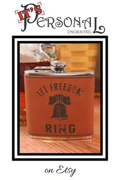 Let Freedom Ring and the Liberty Bell are laser engraved on this beautiful vegan leather hip flask. It won't fade, crack, or peel like vinyl. Give a high quality and long lasting patriotic gift for Christmas!  #patrioticflask #giftformilitary Patrioticgifts #militarygifts #militaryflask #christmasgiftfordad #giftsformen #iniquegiftsforfriend #lastminutegifts #stockingstuffers