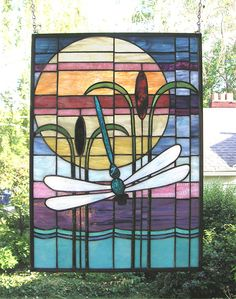 Stained Glass Window Panel--Dragonfly Sunset