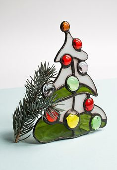 Christmas Tree Stained Glass Candle Holder by StainedGlassPL
