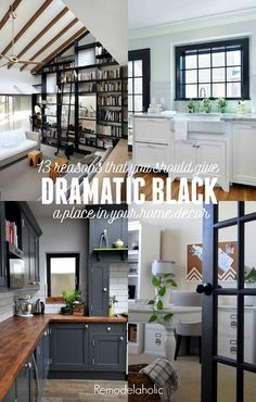 Give black a chance! 13 beautiful reasons that you should consider decorating wi. Give black a chance! 13 beautiful reasons that you should consider decorating with black -- even and especially when you love bright and airy white! Kitchen Cabinet Inspiration, Kitchen Ideas, Black Interior Doors, Interior Paint, Black Decor, Black House, Home Decor Inspiration, Home Projects, Home Remodeling