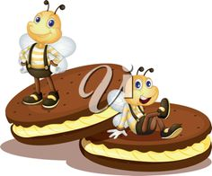 iCLIPART - Cute bees on two biscuits