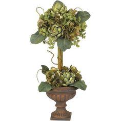 Artichoke Topiary Silk Flower Arrangement, Green