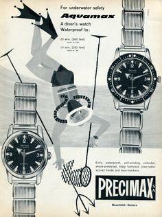 1959 Precimax Aquamax Watch Advert Swiss Print Ad Publicite Suisse Montres Diving