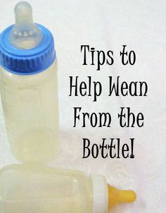 Tips to help your toddler (or baby) wean from the bottle. It has ideas to help give up the bed time bottle plus tips on how to wean from bottle to sippy cup!