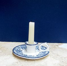 Candle Holder Royal Staffordshire Blue Tonquin