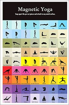 Magnetic yoga Price: $11.99 Arrange - and rearrange - these magnetic one-inch tiles to create countless yoga routines. The set of 63 magnets features that many poses and colors. While they're well-suited for a studio, the pieces also make a decorative statement at work or on your refrigerator.