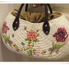 "New Cheap Bags. The location where building and construction meets style, beaded crochet is the act of using beads to decorate crocheted products. ""Crochet"" is derived fro Crochet Round, Bead Crochet, Decoupage, Painted Bags, Art Bag, Crochet Handbags, Cheap Bags, Summer Bags, Handmade Bags"