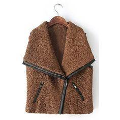 Yoins Khaki Oversized  Lapel Gilet with Leather Trims (49 CAD) ❤ liked on Polyvore featuring outerwear, vests, coats, vest, brown, brown vest, faux-fur vests, fur gilet, brown fur vest and faux fur gilet