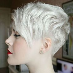Blonde Pixie Cut with Short Layered Bangs