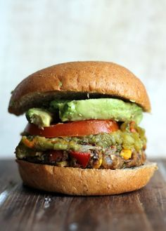 New Mexican Green Chile Black Bean Burgers