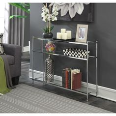 Porch & Den Bywater Chartres Console Table (Chrome), Silver