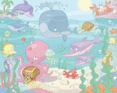 'Baby Under the Sea' wallpaper for babies – WALLTASTIC