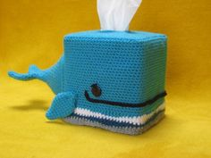 (4) Name: 'Crocheting : Whale Tissue Box Cover Cozy Animal