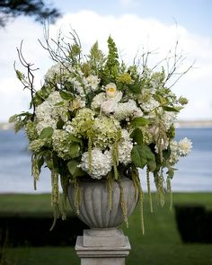 Whether you're making an arrangement for a grand hall or a simple nightstand, beautiful white flowers will lend a cooling effect on hot summer days! The Domestic Curator White Flower Arrangements, Wedding Arrangements, Floral Centerpieces, Wedding Centerpieces, Centrepieces, White Flowers, Beautiful Flowers, French Flowers, Silk Flowers