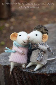 Little Lovers Mice  Needle Felted Ornament  by feltingdreams