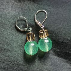Materials: chrysoprase, chrysoprase, silver fittings, ear wires 925 sterling silver, topaz, smoky topaz Size: Length without hooks 2.3 cm ##handmade Topaz Earrings, Silver Earrings, Drop Earrings, Smoky Topaz, Hooks, Personalized Items, Sterling Silver, Natural, Handmade