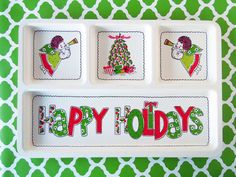 Vintage 1980's Happy Holidays Christmas Plastic by RecycledWares