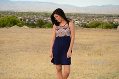 thesouthernpinkboutique.com  If You See Me Dress Aztec Print in Navy
