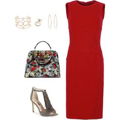 Simply Red and Grey by fromphilly on Polyvore featuring polyvore, fashion, style, Dolce&Gabbana, Louise et Cie, Fendi, Rosa de la Cruz, Alexis Bittar and Ryan Storer