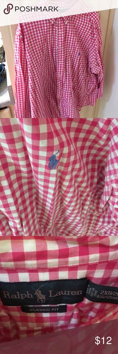 Pink and white checked Polo button down shirt Pink and white checked Polo button down shirt Polo by Ralph Lauren Shirts Dress Shirts