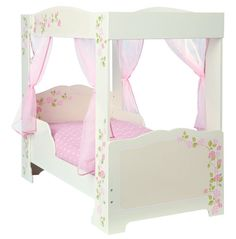 Rose 4 Poster Toddler Bed - This four-poster Toddler Bed with its pretty rose print and voile curtains has to be every little girl's dream bed.